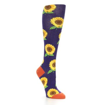 Image of Purple Yellow Sunflowers Women's Knee High Socks (side-1-27)