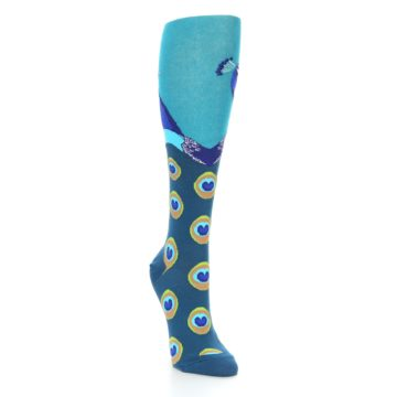 Image of Turquoise Peacock Women's Knee High Socks (side-1-front-02)