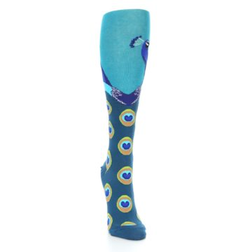 Image of Turquoise Peacock Women's Knee High Socks (side-1-front-03)