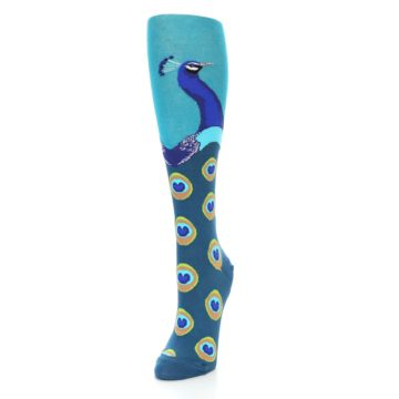 Image of Turquoise Peacock Women's Knee High Socks (side-2-front-07)
