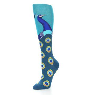 Image of Turquoise Peacock Women's Knee High Socks (side-2-09)