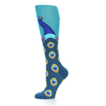 Image of Turquoise Peacock Women's Knee High Socks (side-2-11)