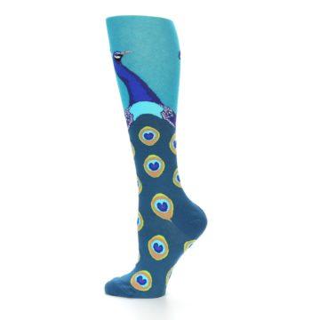 Image of Turquoise Peacock Women's Knee High Socks (side-2-12)