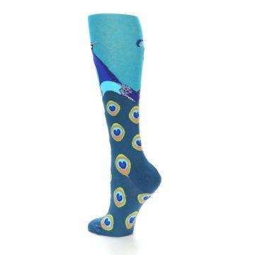 Image of Turquoise Peacock Women's Knee High Socks (side-2-back-14)
