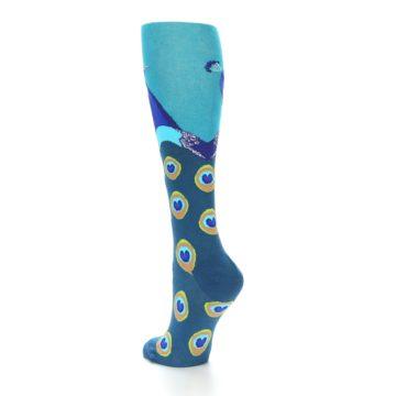 Image of Turquoise Peacock Women's Knee High Socks (side-2-back-15)