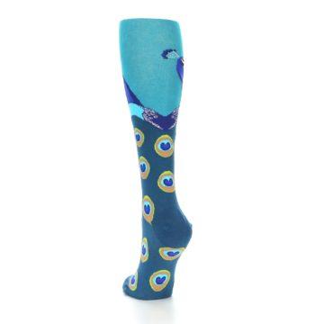 Image of Turquoise Peacock Women's Knee High Socks (side-2-back-16)