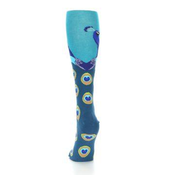 Image of Turquoise Peacock Women's Knee High Socks (back-17)
