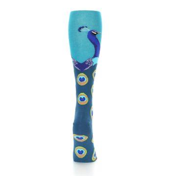 Image of Turquoise Peacock Women's Knee High Socks (back-19)