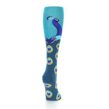 Image of Turquoise Peacock Women's Knee High Socks (side-1-back-20)