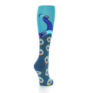 Image of Turquoise Peacock Women's Knee High Socks (side-1-back-21)