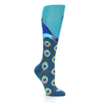 Image of Turquoise Peacock Women's Knee High Socks (side-1-26)