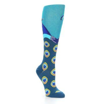 Image of Turquoise Peacock Women's Knee High Socks (side-1-27)