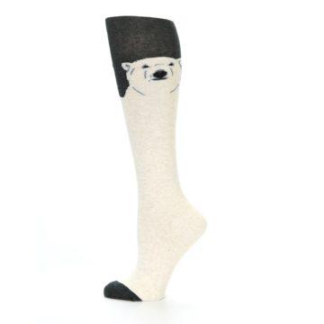 Image of Charcoal Cream Polar Bear Women's Knee High Socks (side-2-12)