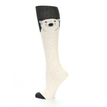 Image of Charcoal Cream Polar Bear Women's Knee High Socks (side-2-13)