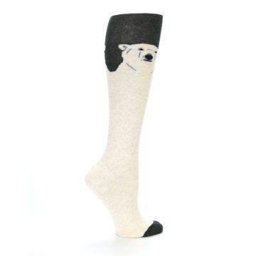 Image of Charcoal Cream Polar Bear Women's Knee High Socks (side-1-24)