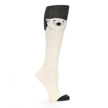 Image of Charcoal Cream Polar Bear Women's Knee High Socks (side-1-25)