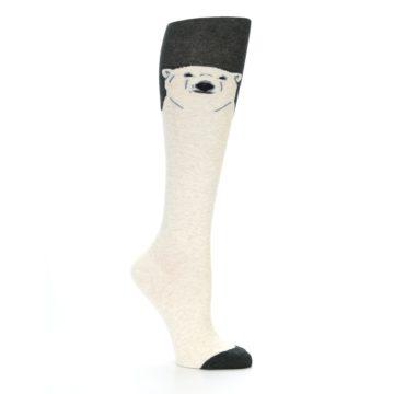 Image of Charcoal Cream Polar Bear Women's Knee High Socks (side-1-26)