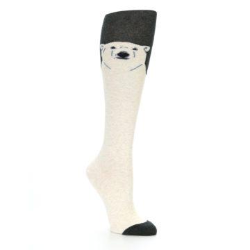 Image of Charcoal Cream Polar Bear Women's Knee High Socks (side-1-27)