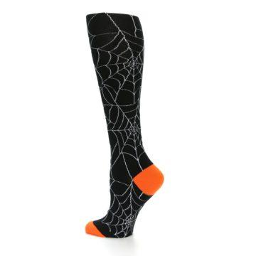 Image of Black Orange Spiderweb Women's Knee High Socks (side-2-13)