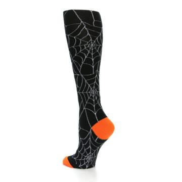 Image of Black Orange Spiderweb Women's Knee High Socks (side-2-back-14)