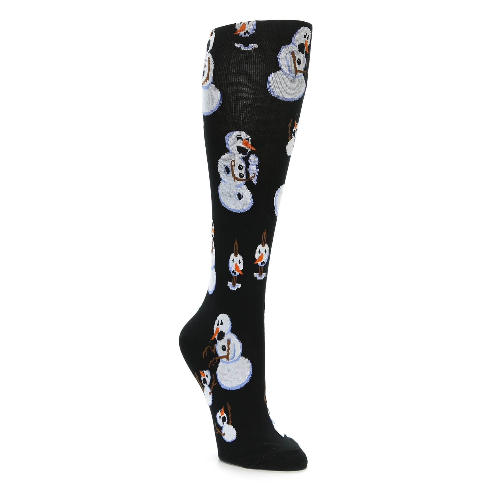 Black White Snowmen Christmas Women's Knee High Socks ...