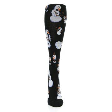 Image of Black White Snowmen Christmas Women's Knee High Socks (front-04)