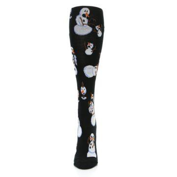 Image of Black White Snowmen Christmas Women's Knee High Socks (front-05)