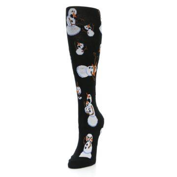 Image of Black White Snowmen Christmas Women's Knee High Socks (side-2-front-07)