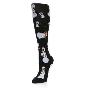 Image of Black White Snowmen Christmas Women's Knee High Socks (side-2-front-08)