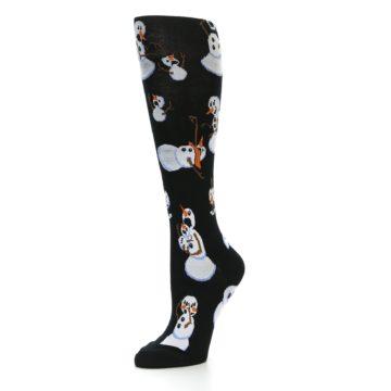 Image of Black White Snowmen Christmas Women's Knee High Socks (side-2-09)