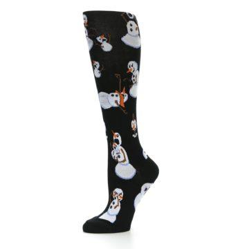 Image of Black White Snowmen Christmas Women's Knee High Socks (side-2-10)