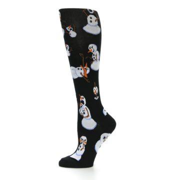 Image of Black White Snowmen Christmas Women's Knee High Socks (side-2-11)