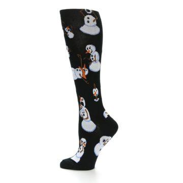 Image of Black White Snowmen Christmas Women's Knee High Socks (side-2-12)