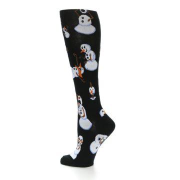 Image of Black White Snowmen Christmas Women's Knee High Socks (side-2-13)