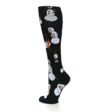 Image of Black White Snowmen Christmas Women's Knee High Socks (side-2-back-14)
