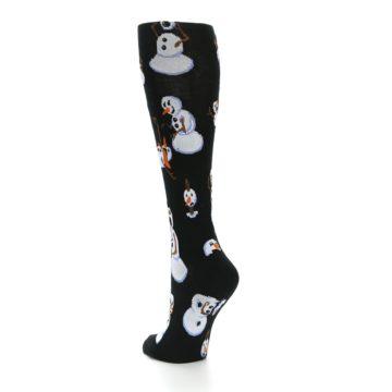 Image of Black White Snowmen Christmas Women's Knee High Socks (side-2-back-15)