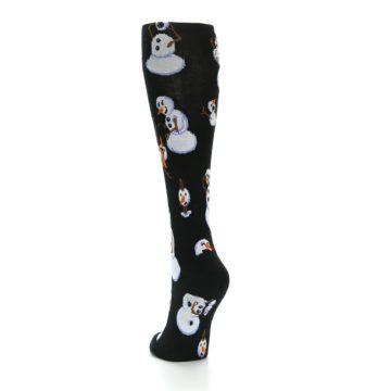 Image of Black White Snowmen Christmas Women's Knee High Socks (side-2-back-16)