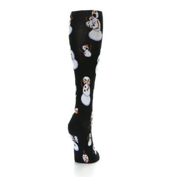 Image of Black White Snowmen Christmas Women's Knee High Socks (side-1-back-20)