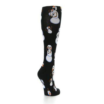 Image of Black White Snowmen Christmas Women's Knee High Socks (side-1-back-21)