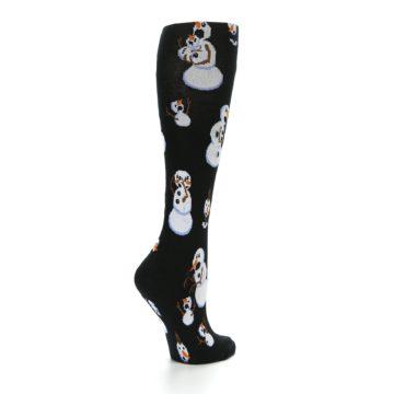 Image of Black White Snowmen Christmas Women's Knee High Socks (side-1-back-22)