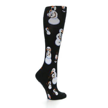 Image of Black White Snowmen Christmas Women's Knee High Socks (side-1-23)