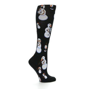 Image of Black White Snowmen Christmas Women's Knee High Socks (side-1-24)