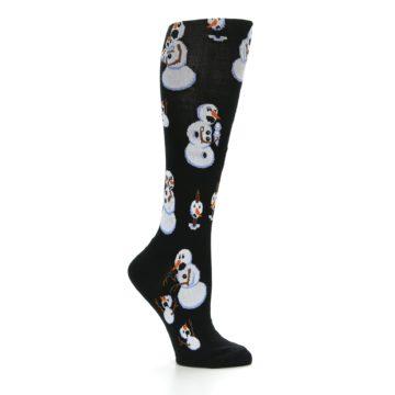 Image of Black White Snowmen Christmas Women's Knee High Socks (side-1-25)