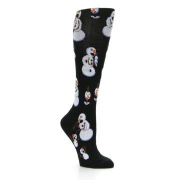 Image of Black White Snowmen Christmas Women's Knee High Socks (side-1-26)