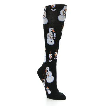 Image of Black White Snowmen Christmas Women's Knee High Socks (side-1-27)