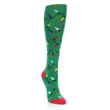 Image of Green Christmas Lights Women's Knee High Socks (side-1-front-02)