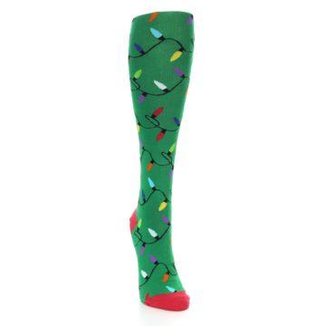 Image of Green Christmas Lights Women's Knee High Socks (side-1-front-03)