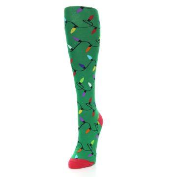 Image of Green Christmas Lights Women's Knee High Socks (side-2-front-07)