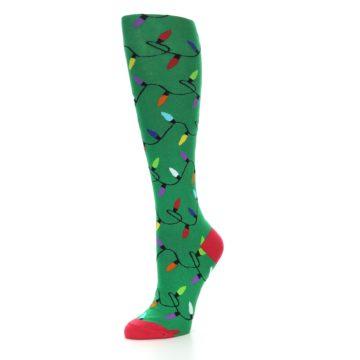 Image of Green Christmas Lights Women's Knee High Socks (side-2-09)