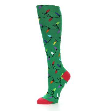 Image of Green Christmas Lights Women's Knee High Socks (side-2-10)